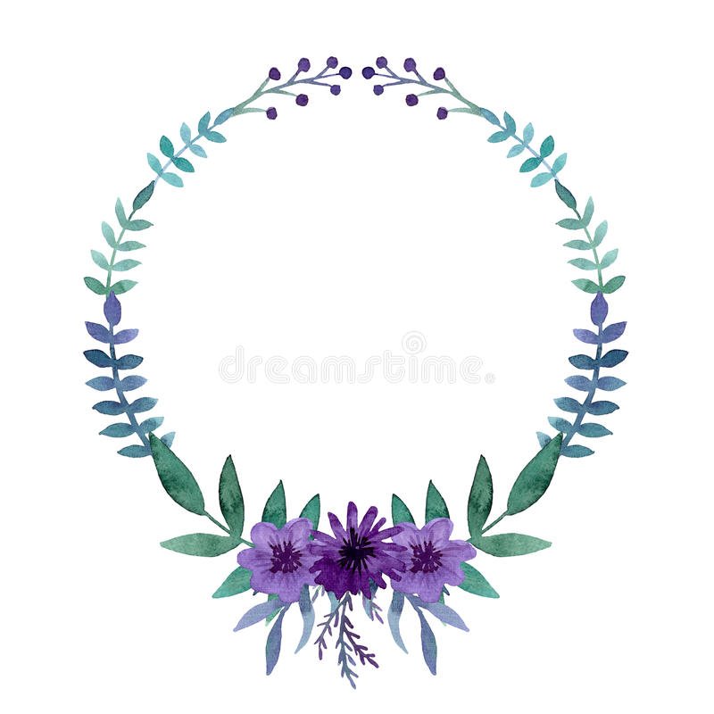 Free Simple Wreath With Watercolor Bright Violet Flowers, Berries And Leaves Stock Image - 77883851