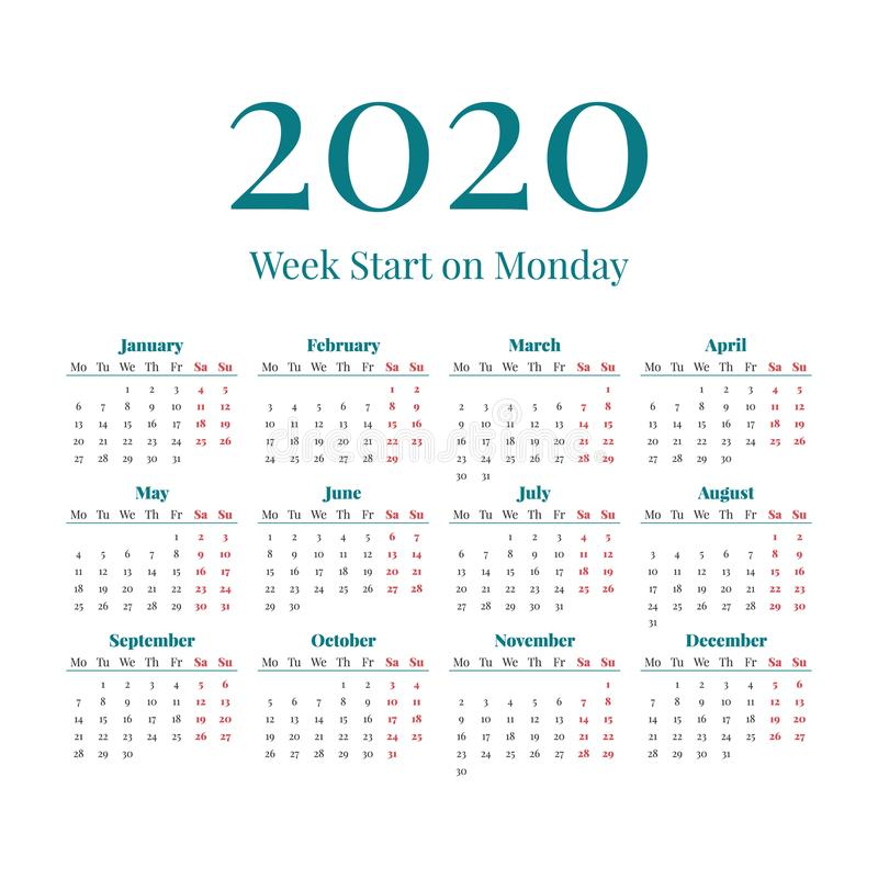Simple 2020 year calendar stock images