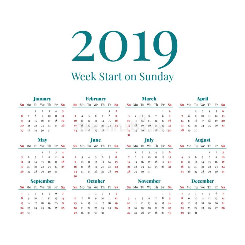 Simple 2019 Year Calendar Stock Vector. Illustration Of