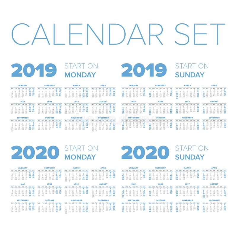 Simple 2019-2020 year calendar set royalty free illustration