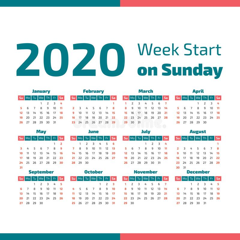 Simple 2020 year calendar vector illustration