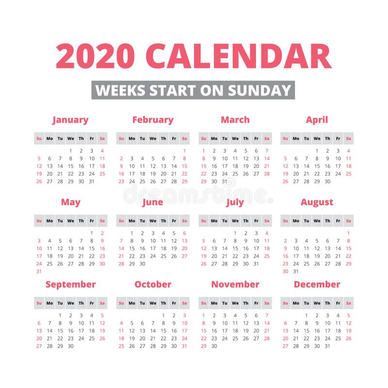Simple 2020 year calendar stock illustration