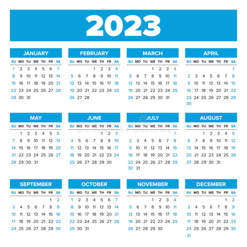 Uci 2022 2023 Calendar.Simple 2023 Year Calendar Stock Vector Illustration Of Template 80462266