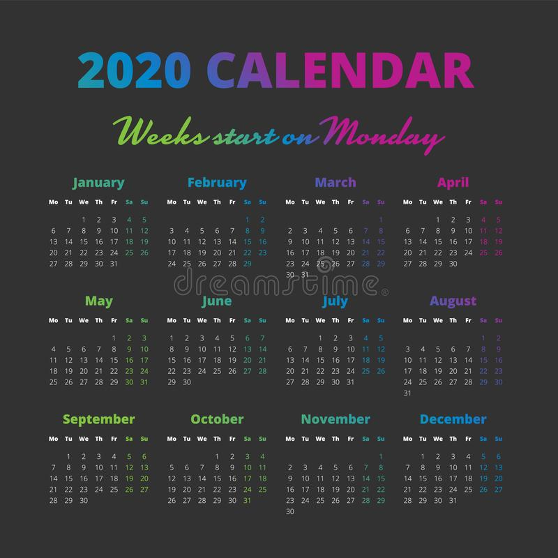 Simple 2020 year calendar, weeks start on Monday stock illustration