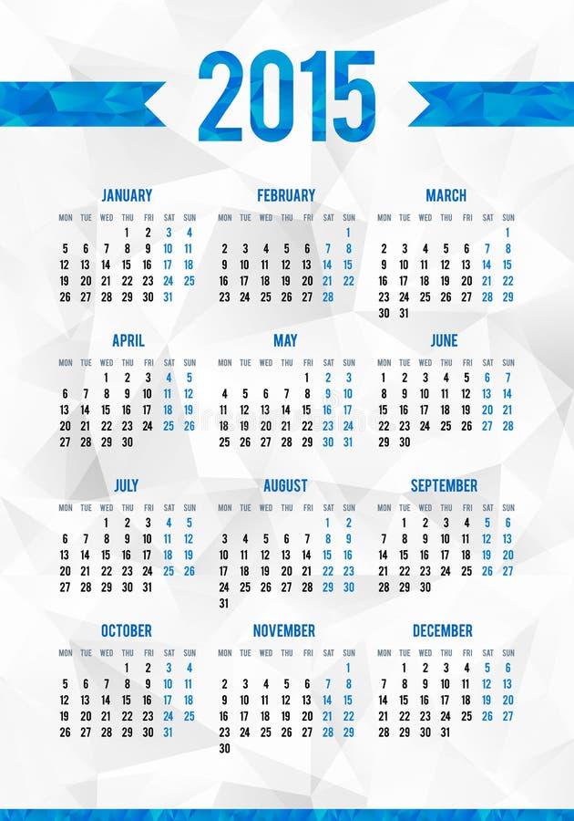 Simple 2015 year European calendar grid royalty free illustration