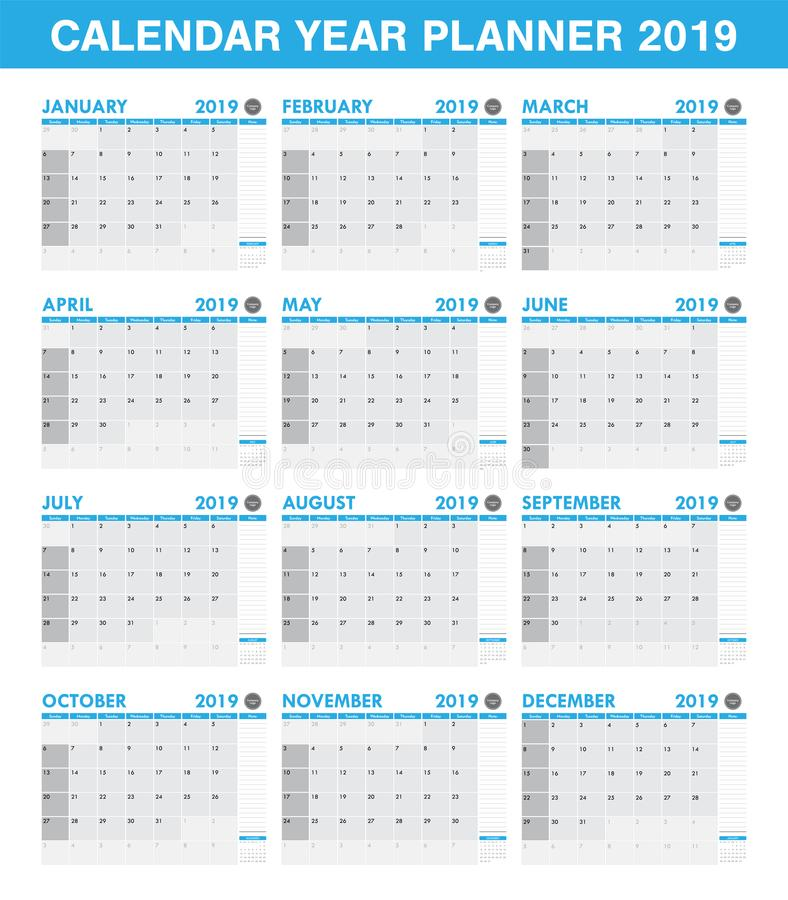 download simple 2019 year planner calendar set of all month stock vector illustration of design