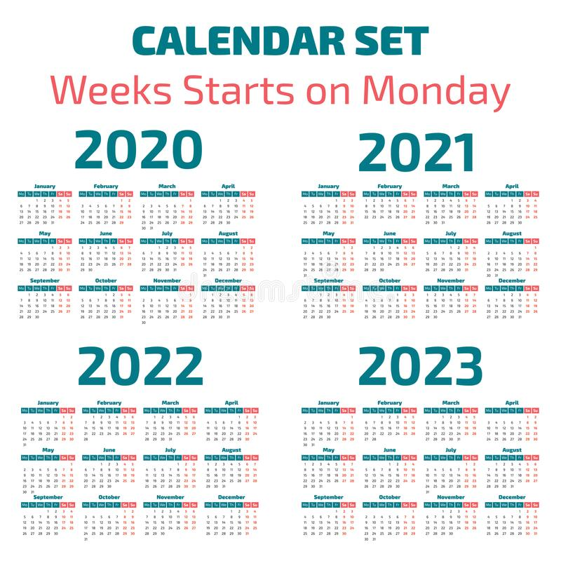 Simple 2020-2023 years calendar vector illustration