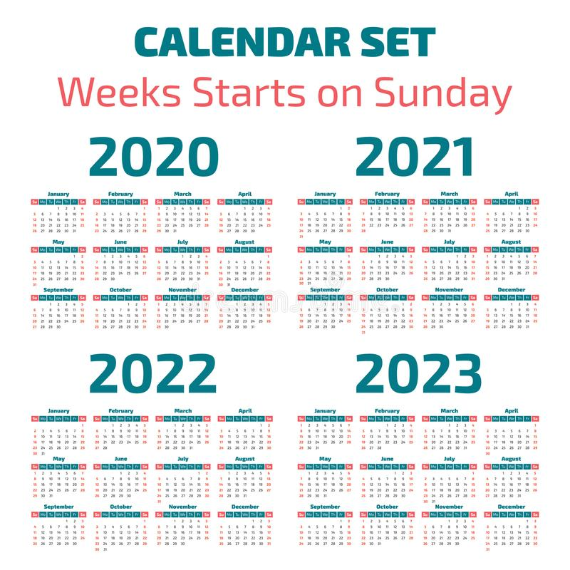 Simple 2020-2023 years calendar royalty free illustration