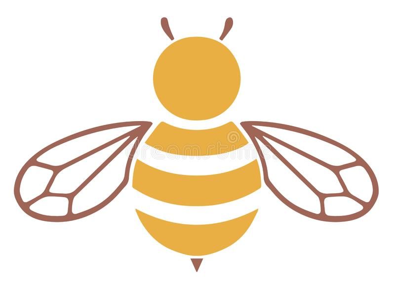 Yellow and brown bee vector icon stock illustration