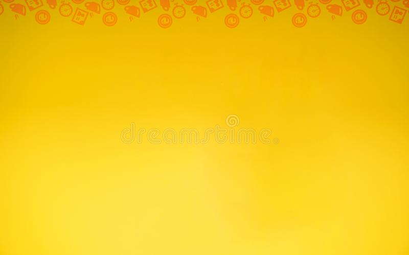 Simple yellow illustration with icons. stock illustration
