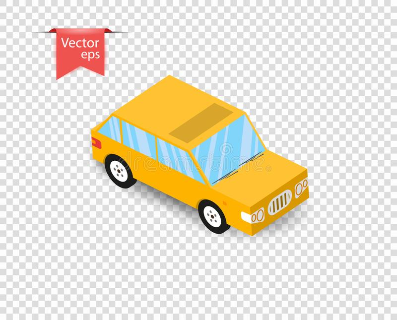 A simple yellow toy car with a shadow. Vector illustration on isolated transparent background. Eps royalty free illustration