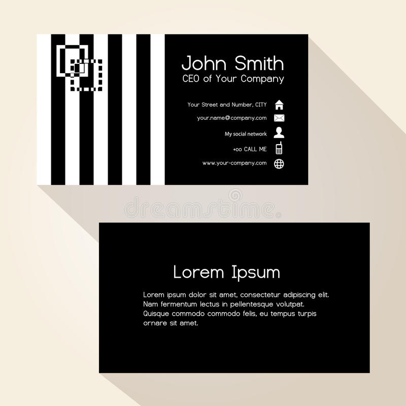Simple zebra stripes black business card design royalty free illustration