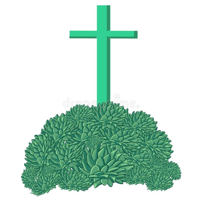 Simplemente cruz del verde en la montaña del echeveria libre illustration