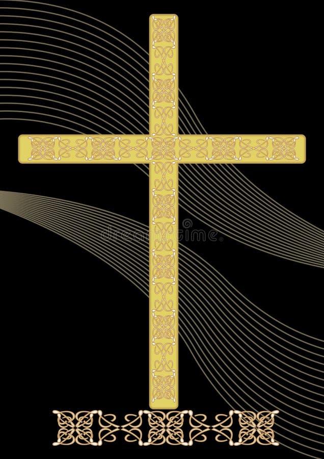 Simplemente decoración fúnebre del oro con crucifijo adornado afiligranado y elementos ligeros ondulados en el fondo negro, entie ilustración del vector