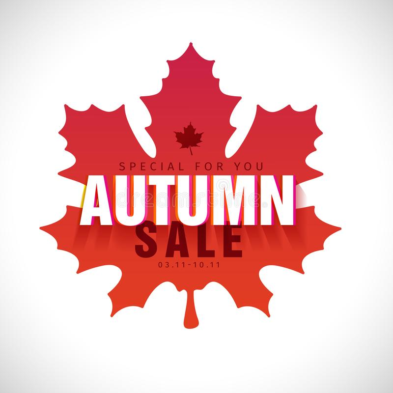 Simplemodern秋天销售的设计横幅 签字与在槭树地方教育局的红色剪影背景的秋天文本 皇族释放例证