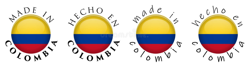 Simples feito em Colômbia/sinal espanhol do botão da tradução 3D T ilustração do vetor