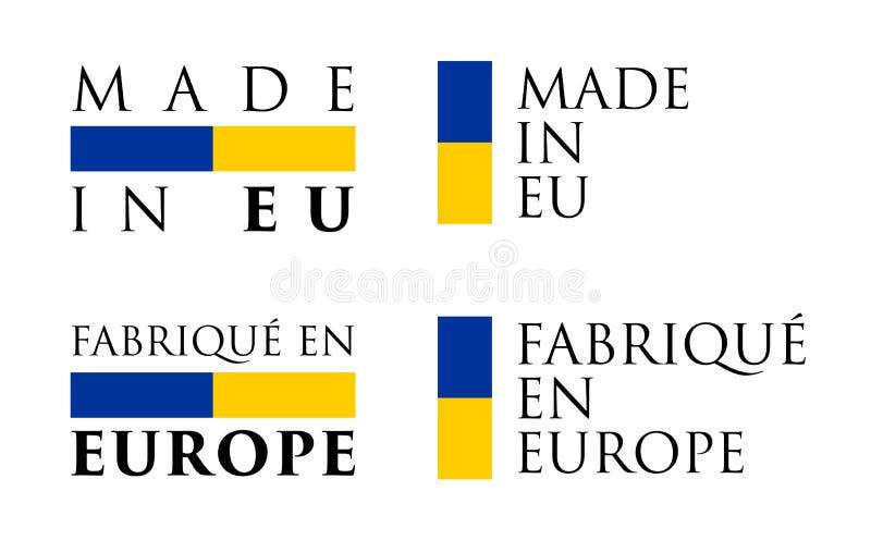 Simples feito no labe francês da tradução da UE/en Europa de Fabrique ilustração royalty free