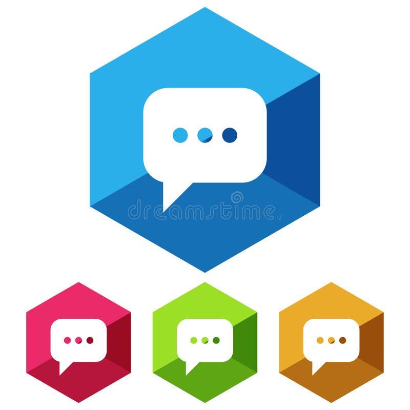 Simples, liso, ícone branco da silhueta da bolha do discurso do hexágono Quatro variações da cor Isolado no branco ilustração royalty free