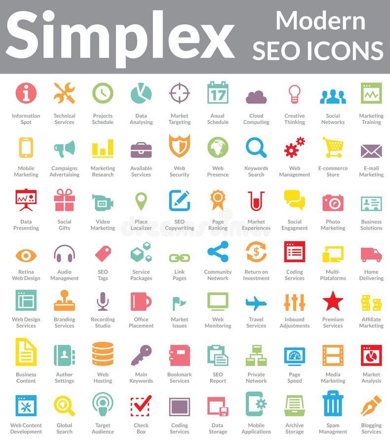 Simplex - Modern SEO Icons (Kleurenversie) royalty-vrije illustratie