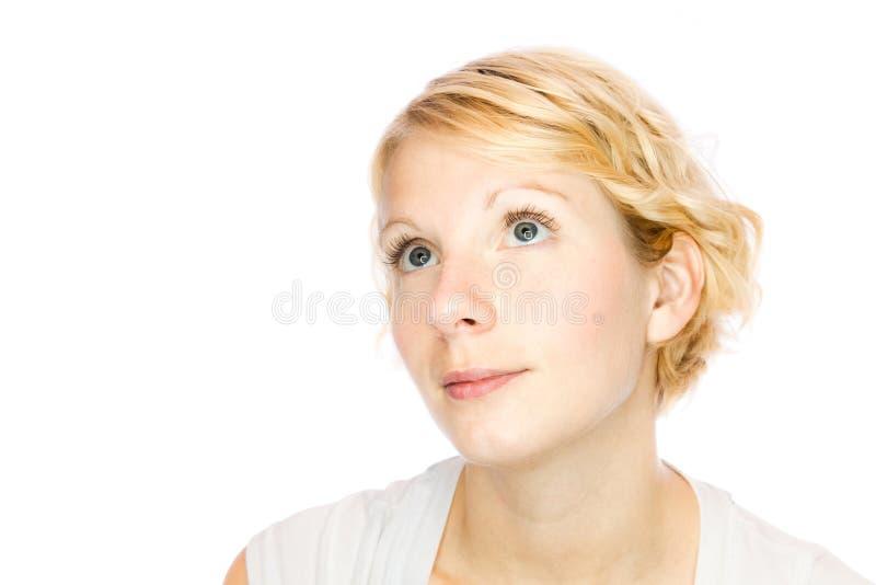 Simplicidade - menina que olha acima lá foto de stock