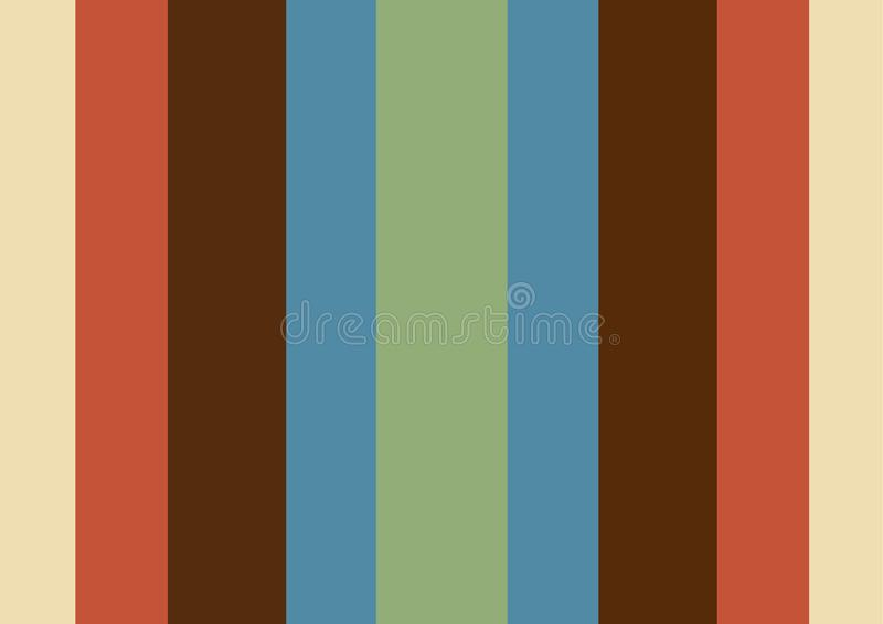 Simplicity colorful vertical retro stripes wallpaper. Group of vintage colors stock illustration