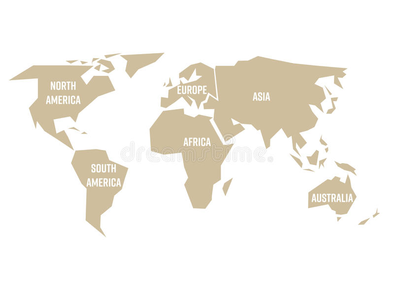 download simplified beige silhouette of world map divided to six continents simple flat vector illustration