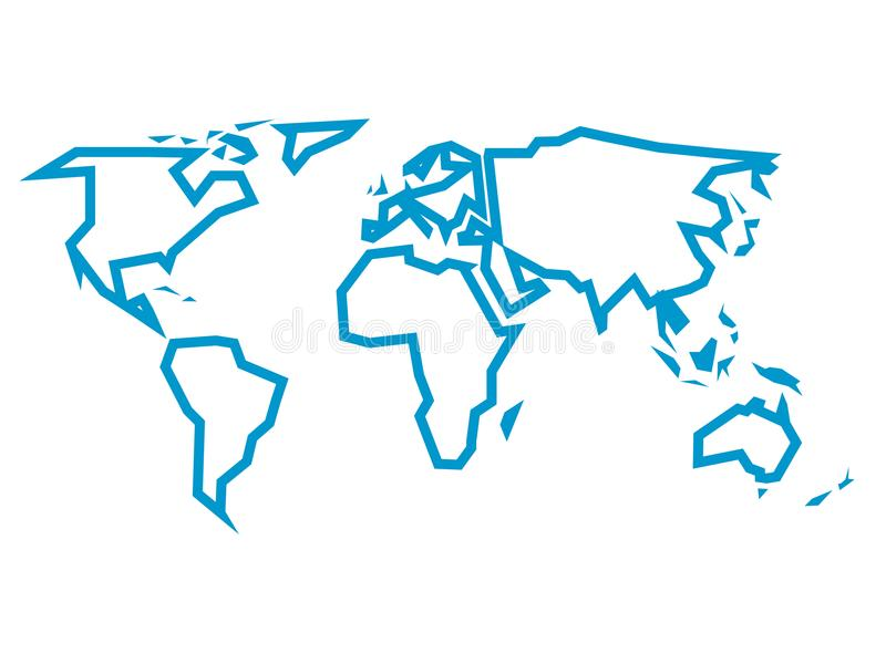 Simplified blue thick outline of world map divided to six continents download simplified blue thick outline of world map divided to six continents simple flat vector gumiabroncs Images
