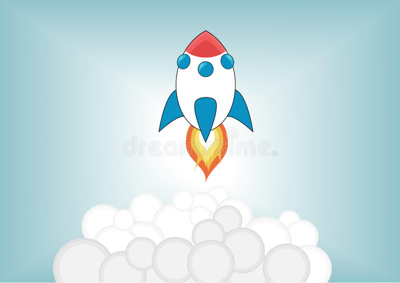 Simplified cartoon rocket launching up into the sky royalty free illustration