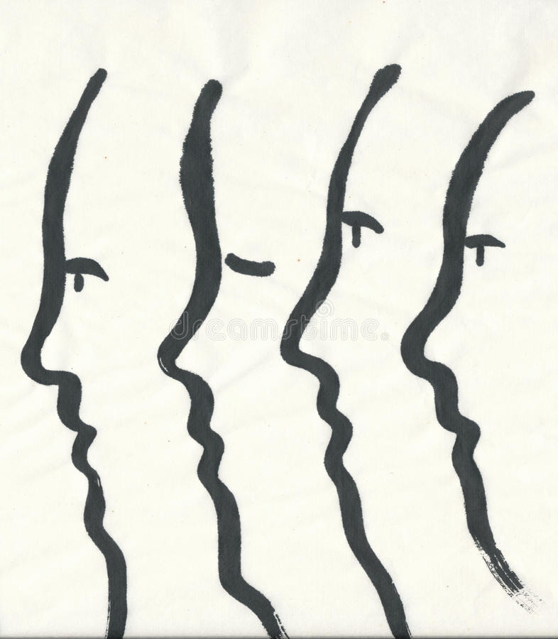 Download Simplified Faces, Side View - Painting Stock Illustration - Image: 24064104