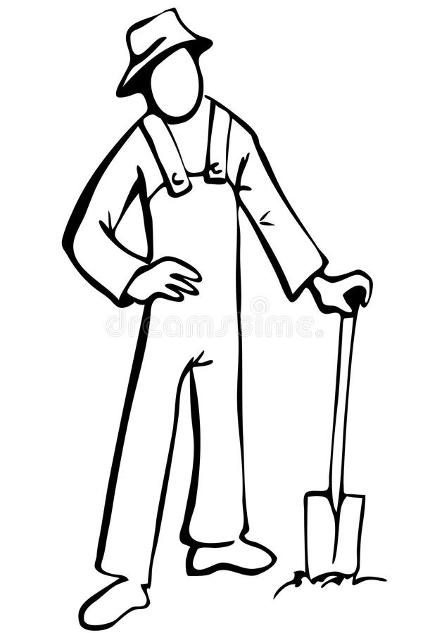 Simplified farmer illustration in black and white royalty free illustration
