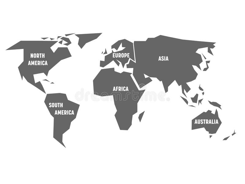 Simplified grey silhouette of world map divided to six continents download simplified grey silhouette of world map divided to six continents simple flat vector illustration gumiabroncs Choice Image
