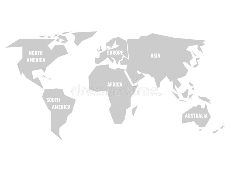 Simplified grey silhouette of world map divided to six continents download simplified grey silhouette of world map divided to six continents simple flat vector illustration gumiabroncs Images