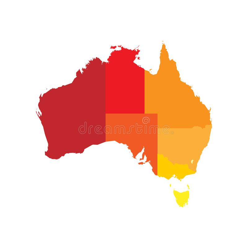 download simplified map of australia divided into states and territories blank flat vector map stock