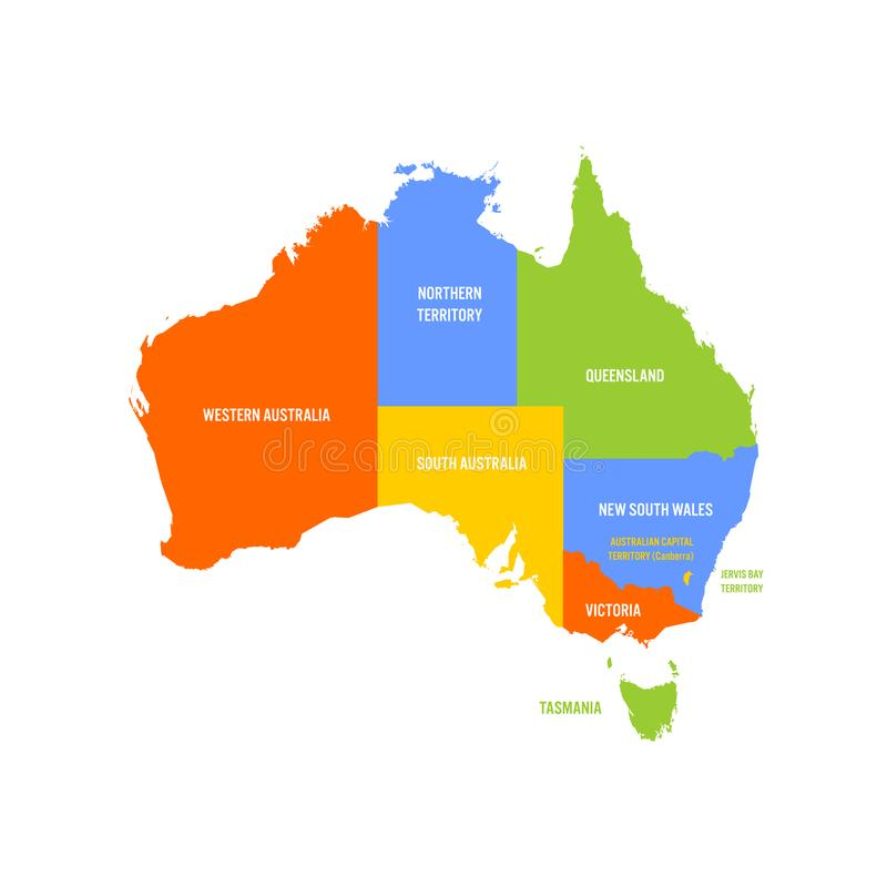 download simplified map of australia divided into states and territories multicolored flat vector map stock