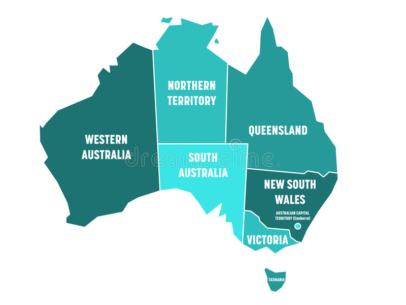 download simplified map of australia divided into states and territories turquoise blue flat map with