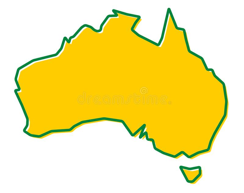 Simplified map of Australia outline. Fill and stroke are national colours. vector illustration