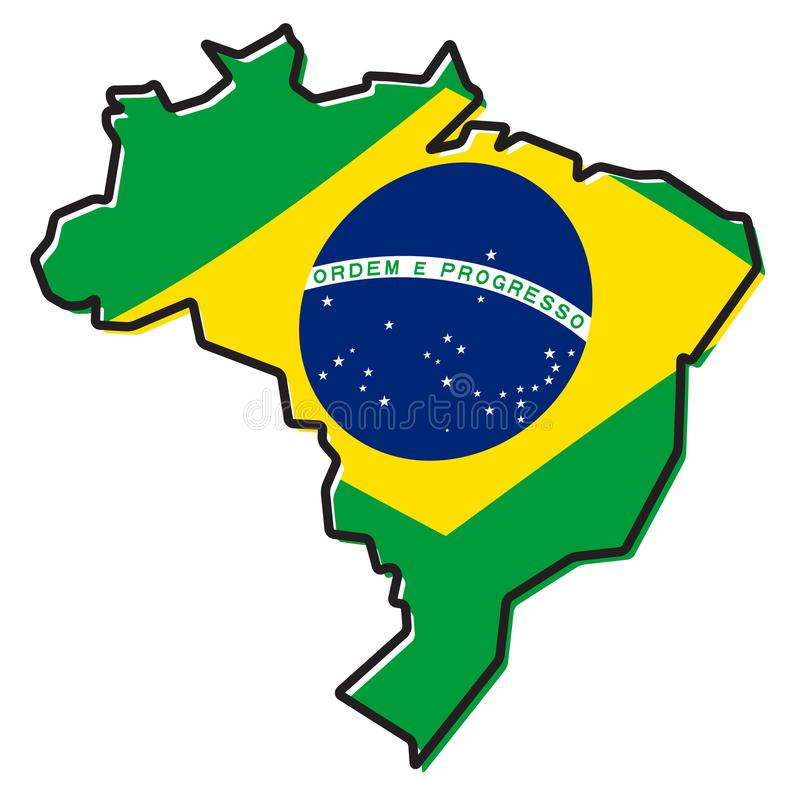 Brazil Flag And Map Federative Republic Of Brazil Stock Vector
