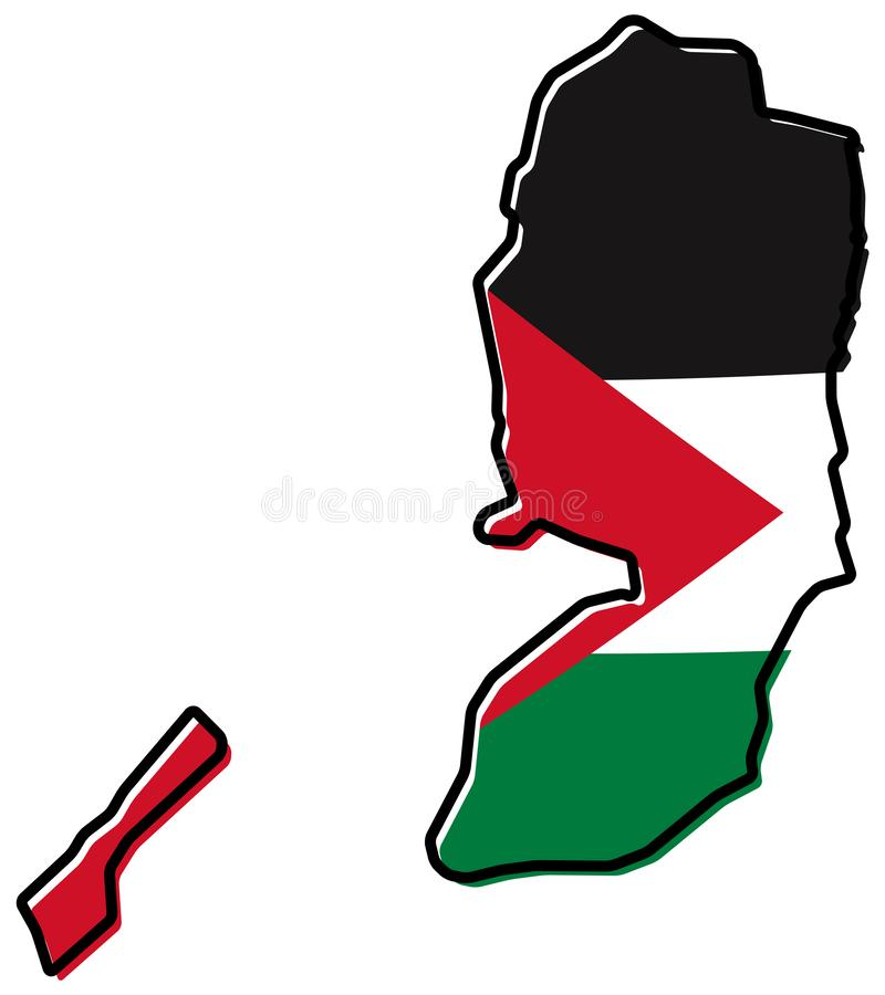 Simplified map of Palestine West Bank and Gaza Strip outline,. With slightly bent flag under it vector illustration