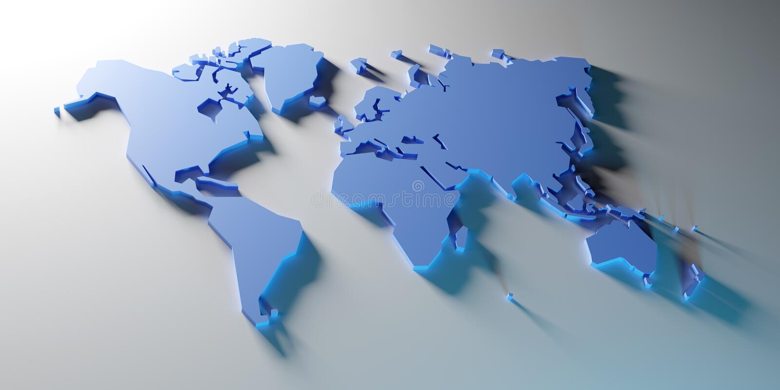 Simplified map of the world, 3d render. Simplified map of the world, stylized 3d render illustration stock illustration