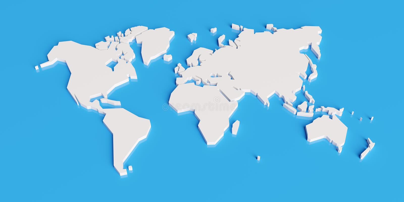 Simplified map of the world, 3d render. Simplified map of the world, stylized 3d render illustration vector illustration