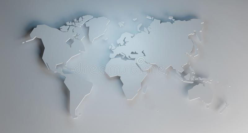Simplified map of the world, 3d render. Simplified map of the world, stylized 3d render illustration royalty free illustration