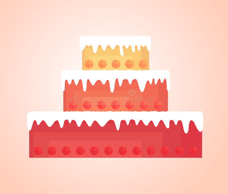 Simplified tall cake with bright shortcakes different colors vector illustration