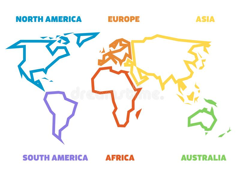 Download Simplified Thick Outline Of World Map Divided To Six Continents.  Simple Flat Vector Illustration