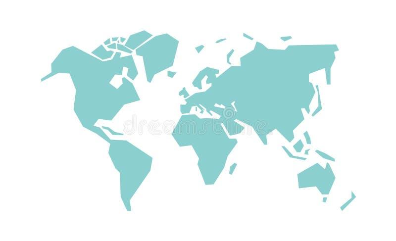 World map vector illustration. Simplified world map. Stylized vector illustration stock illustration