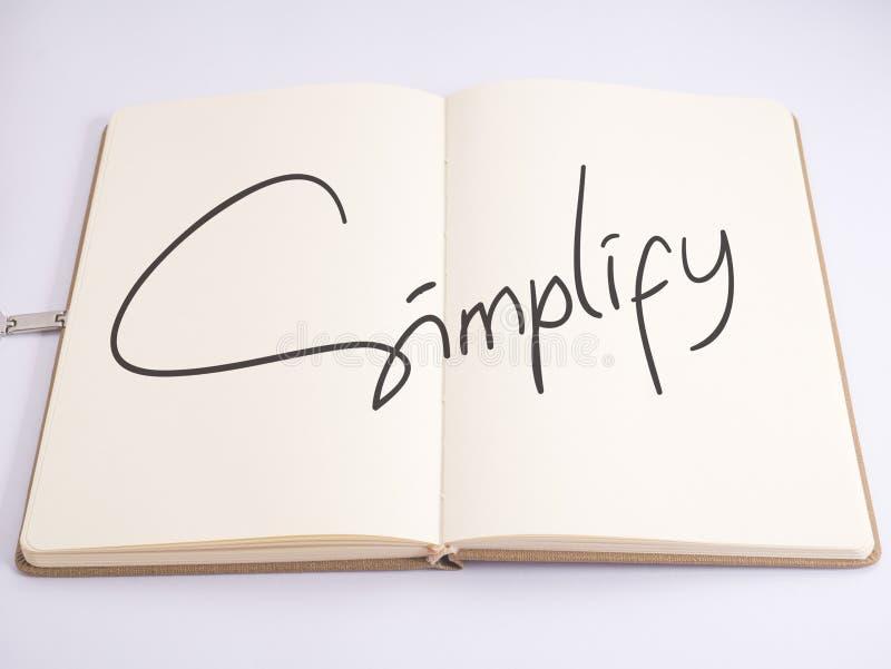 Simplifique, concepto de motivación de las citas de las palabras del negocio imagen de archivo libre de regalías