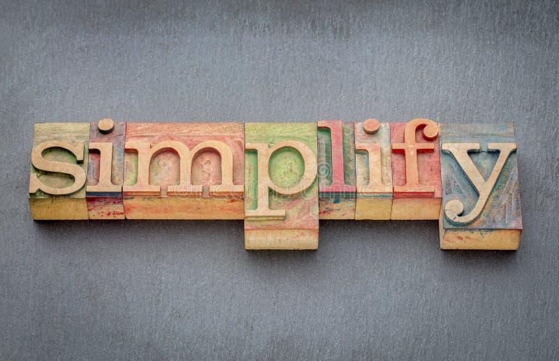 Simplifique la palabra en el tipo de madera imagen de archivo