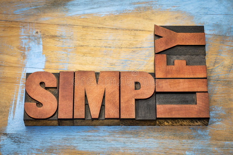 Simplify word abstract in wood type royalty free stock photos
