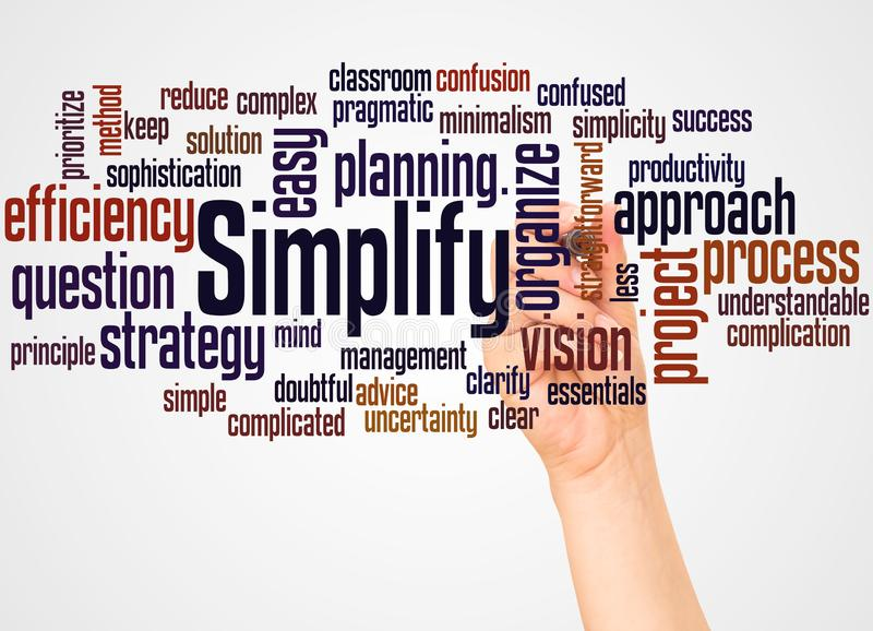 Simplify word cloud and hand with marker concept royalty free stock photos