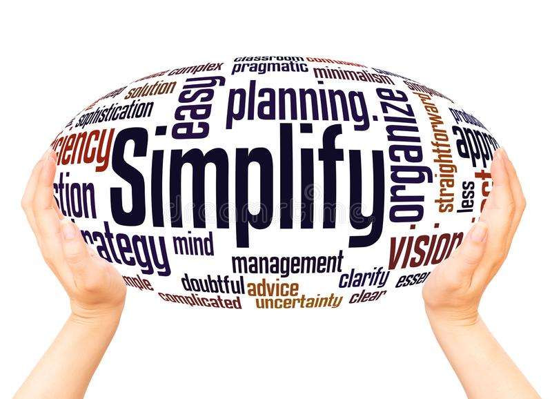 Simplify word cloud hand sphere concept royalty free stock images
