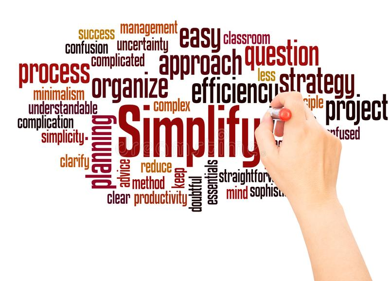 Simplify word cloud hand writing concept stock photography